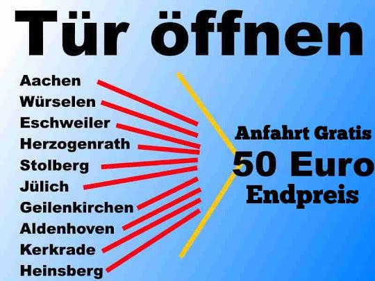 Schlüsseldienst Aachen Würselen Herzogenrath sowie Schlüsseldienst Eschweiler Stolberg Alsdorf zum 50 Euro Schlüsselnotdienst Endpreis - Festpreis